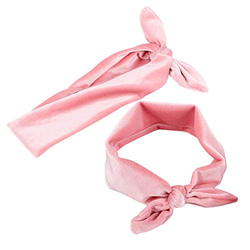 Frcolor 2 pcs faixa de cabelo orelha de coelho atada faixa de cabelo bandanas de pano facial acessã³rios para o cabelo para meninas titular rabo de cavalo (rosa)