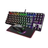 havit Teclado mecánicos Gaming español con Cable, Teclados Gaming con Interruptor Rojo de 90...