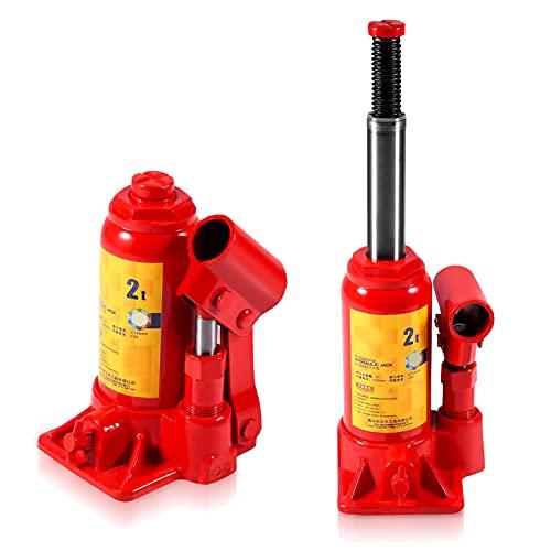 Cocoarm Hydraulikheber Wagenheber Stempelwagenheber Hydraulischer Wagenheber Hydraulisch Flaschenwagenheber Stempel Heber Stempelheber Heber Hubkraft Wagenheber Werkzeug für Auto/Van/Boot/LKW (2T)