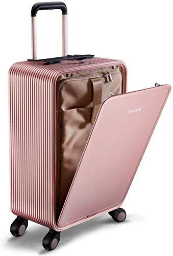 TUPLUS Rollkoffer Trolley Reisekoffer Koffer Hartschalenkoffer aus Aluminium, 4-Rollen 360 Grad, Volumen 33L, Höhe 63cm, pink