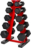 WF Athletic Supply 5-25Lb Rubber Coated Hex Dumbbell Set with A Frame Storage Rack Non-Slip Hex Shape for Muscle Toning, Strength Building & Weight Loss - Multiple Choices Available (Red)