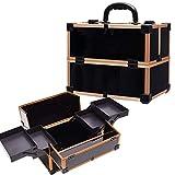 Organizador de Maquillaje Viaje, Caja de Maquillaje, Maletín de Maquillaje - 4 x Bandejas Desplegables, Compartimento Inferior Grande y Asa de Transporte,Oro