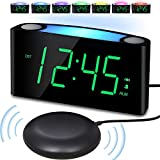 Vibrating Loud Alarm Clock with Bed Shaker for Heavy Sleepers Deaf Senior Kids, Large Number LED Display with Dimmer Night Light USB Phone Charger 12/24H, Easy to Set DigitalBedroom DeskTravel Clock