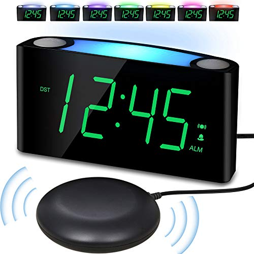Vibrating Loud Alarm Clock with Bed Shaker for Heavy Sleepers Deaf Senior Kids, Large Number LED Display with Dimmer|Night Light|USB Phone Charger|12/24H, Easy to Set DigitalBedroom DeskTravel Clock