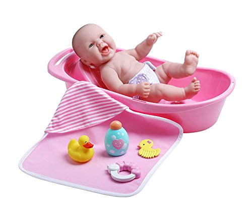 JC Toys La Newborn Realistic Baby Doll Bathtub Gift Set Featuring 13' All Vinyl Newborn Doll (8 Piece)