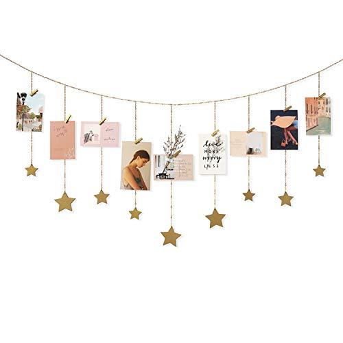 Mkono Hanging Photo Display Wooden Stars Garland with Metal...