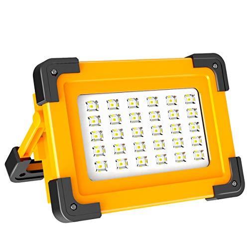 Projecteur LED Rechargeable Projecteur Chantier 60W T-SUNRISE Lampe Led Rechargeable 3 Modes Luminosité Lamp de Travail avec Batterie 6600mAh pour Camping, Bricolage