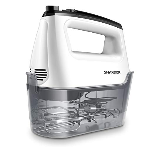 SHARDOR Hand Mixer with Snap-On Storage Case 6-Speed Plus Turbo Hand Mixer Electric With 5 Stainless Steel Attachments(2 Beaters, 2 Dough Hooks and 1 Whisk), White