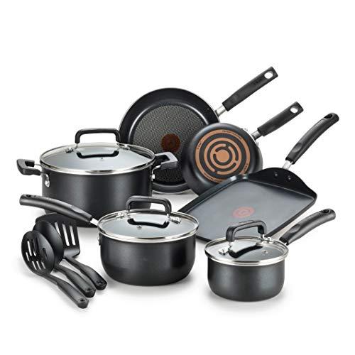T-fal C530SC Signature Nonstick Dishwasher Safe Cookware Set, 12 Piece, Black
