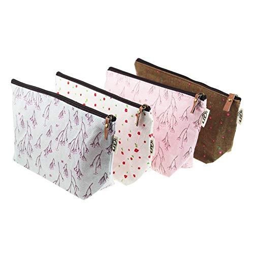 Ljy 4pezzi assortiti grande capacit sacchetto floreale lino portapenne cancelleria Astuccio da viaggio multifunzionale borse cosmetici