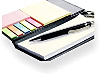 It is a diary style desk organizer,memo note pad with a closed size of 7.5 X 4.5 inch appox It has 3 sizes of sticky note pad & 1 pad of loose sheets with clip holder and a pen No. of sheets in sticky note pad of yellow(appox size 4 x 3 inch ) ,pink(...