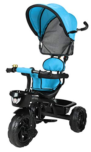 JoyRide 3 in 1 Baby Tricycle Toddler Stroller Kids Pedal Tricycle w/ Pusher Removable Canopy Safety...