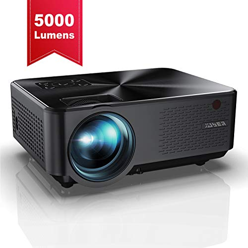 Vidéoprojecteur, YABER Mini Projecteur Portable 5000 Lumens Résolution Native 1280*720p, Retroprojecteur avec Haut-parleurs Stéréo HiFi, Couvercle en Métal, Supporte HDMI / USB / VGA / AV( Noir )