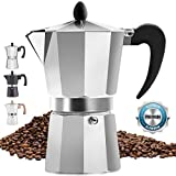 Classic Stovetop Espresso Maker for Great Flavored Strong Espresso, Classic Italian Style 3 Espresso Cup Moka Pot, Makes Delicious Coffee, Easy to Operate & Quick Cleanup Pot - by Zulay Kitchen