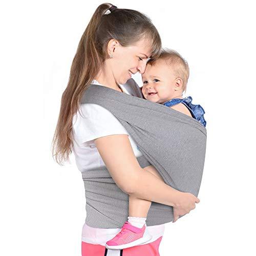 Lictin Fascia Porta Bambino - Fascia Porta Beb Elastica, Baby Wrap, Marsupio Fascia Neonato per Neonati e Bambini Fino a 16 kg, Morbido e Confortevole, Grigio