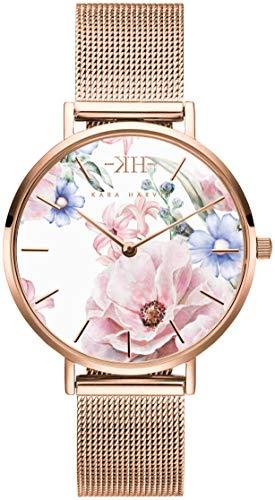 Kara Harvey Damen-Armbanduhr Roségold Mesh in 36mm und 32mm Diverse Zifferblätter Analog Quarz Edelstahl (32 Millimeter, Roségold Weiss)