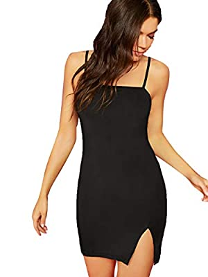 Stretchy and soft fabric to wear, Deep Black color's fabric is Rib Knit, no slit hem(other colors have split hem) Sleeveless, above knee length bodycon dress with adjustable spaghetti strap, plain color Highlights: backless and split hem design make ...