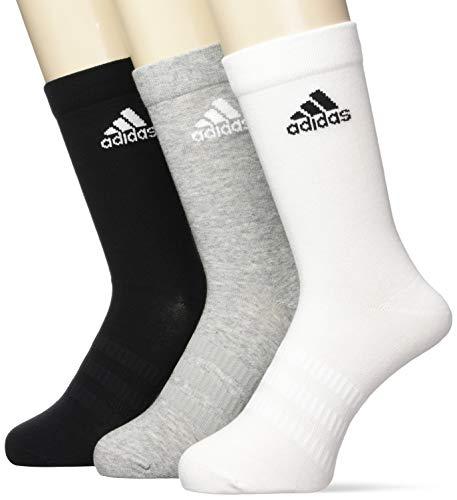 Adidas Light Crew 3pp Calzini Uomo, L, Multicolore (Medium Grey Heather/White/Black), 3 Pezzi