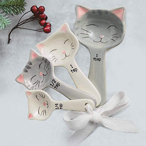 Cat Shaped Ceramic Measuring Spoons with Tie Ribbon - Gift for Cat Lovers - Measure Dry and Liquid Ingredients - Farmhouse Kitchen Utensil Decor - Cooking and Baking Supplies Accessories - 5-piece Set