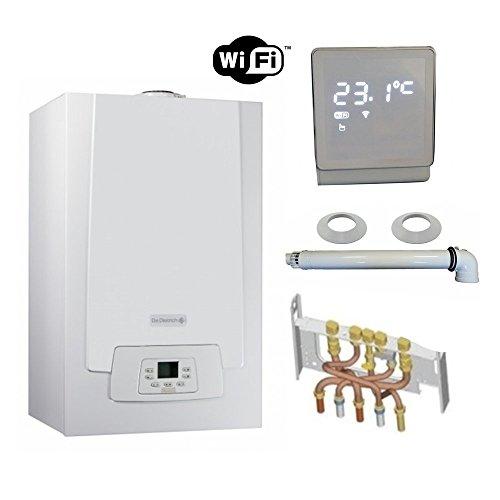 Chaudière Gaz Condensation MPX MI Slim De Dietrich 29 kW Complète (DOSSERET + DOUILLES + VENTOUSE) avec thermostat WIFI connecté