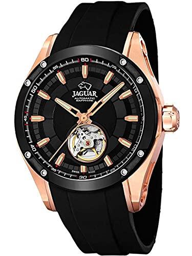 JAGUAR Uhrenmodell J814 / 1 aus der AUTOMATICO-Kollektion, 45 mm Gehäuse mit schwarzem Kautschukarmband für Herren J814/1