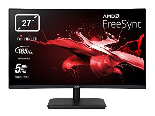 Acer ED270RPbiipx Monitor Gaming Curvo FreeSync, 27', Display VA Full HD, 165 Hz, 5 ms, 16:9, HDMI 1.4, DP, Schermo PC con Contrasto 100M:1, Lum 250 cd/m2, ZeroFrame, Audio Out, Cavi HDMI, DP Inclusi