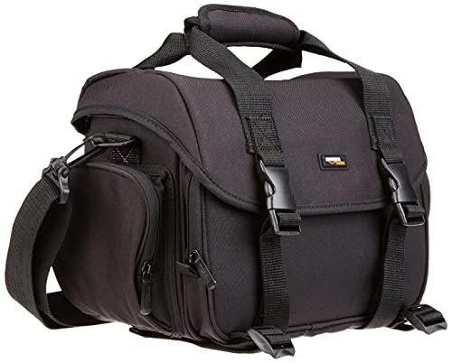 Amazon Basics - Borsa a tracolla grande per fotocamera reflex e accessori, Nero con interno arancione