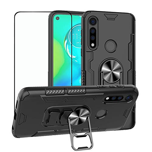 Strug for Moto G Power Case,Hybrid Heavy Duty Armor Shockproof Protection Built-in 360 Rotatable Ring Magnetic Car Mount Case with Tempered Glass Screen Protector for Motorola Moto G Power 2020(Black)