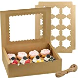 Zezzxu Cupcake Boxes 12 Packs, Brown Kraft Cupcake Carrier, Food Grade Kraft Bakery Boxes with Windows and Inserts to Fit 12 Cupcakes Muffins or Pastries