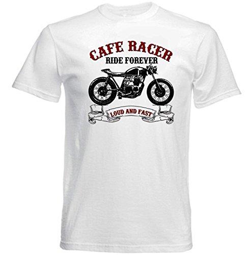 TEESANDENGINES Honda CB 550 Cafe Racer Camiseta Blanca para Hombre de Algodon Size Medium