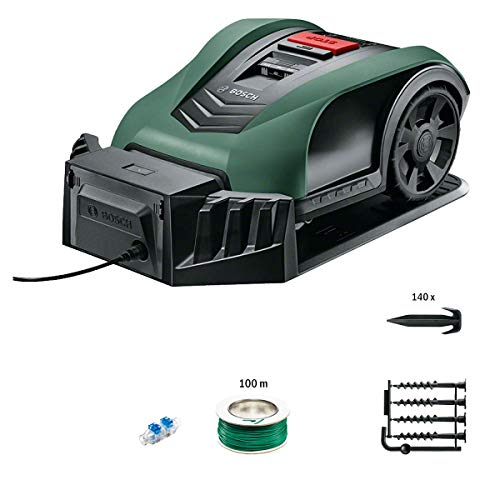 Tondeuse robot connectée Bosch - Indego S+350 (contrôle avec smartphone, largeur de coupe de 19cm, superficie jusqu'à 350m², avec accessoires)