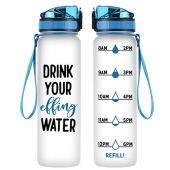 Coolife 32 oz 1 Liter Motivational Tracking Water Bottle with Hourly Time Marker   Drink Your Effing Water   Funny Birthday Gifts for Women, Men, Mom, Dad, Best Friends, Coworkers   Drink More Water