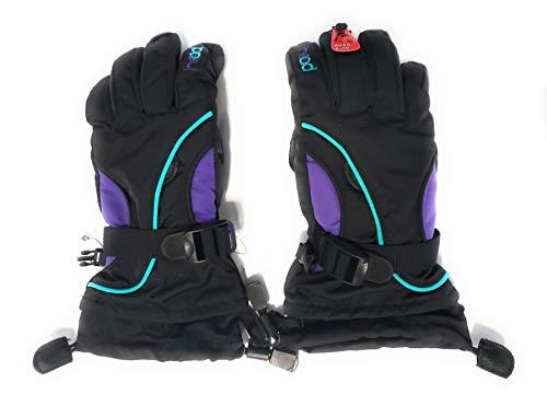 HEAD Junior Kids Unisex Boy's & Girl's Snow Ski Winter DuPont Sorona Gloves w/Pocket (BLACK/PURPLE/BLUE, M (8-10))