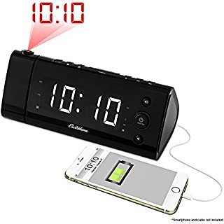 Magnasonic USB Charging Alarm Clock Radio with Time Projection, Battery Backup, Auto Time..
