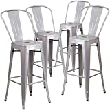Flash Furniture Commercial Grade 4 Pack 30' High Silver Metal Indoor-Outdoor Barstool with Removable Back