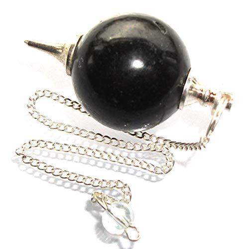 Péndulo esférico para radiestesia y sanación en Cristales de Piedra Semipreciosa Genuina (Turmalina Negra)