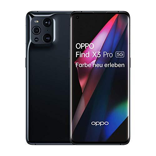 OPPO Find X3 Pro 5G Smartphone, 6,7 Zoll 120 Hz AMOLED Display mit 1 Milliarde Farben, 50MP Duo Hauptkamera, 65W SuperVOOC 2.0 und 30W AirVOOC kabelloses Schnellladen, 256GB Speicher, 12GB RAM, Black