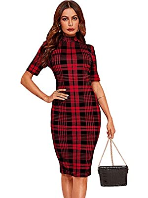 Soft, lightweight, skin touch material, the dress will give you a comfortable and breezy wearing experience. Features: This women bodycon dress features high-quality material, grid pattern, mock neck, knee length. The pencil dress goes great with any...