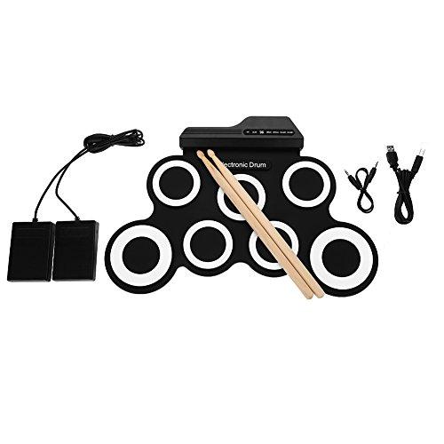 VBESTLIFE Juego de batería electrónica, Tambor portátil Enrollable con Pedales de Cable USB Stick para niños Principiantes