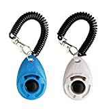 Dog Training Clicker with Wrist Strap - Pet Training Clicker, Big Button Clicker Set, 2-Pack(Blue + White)