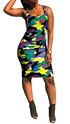 Farbic: polyester, lightweight, stretchy, soft, regular thick, comfortable to wear Women Sexy Spaghetti Strap V Neck Rainbow Striped Bodycon Pencil Party Club Summer Dress, Deep v neck striped sleeveless bodycon party club midi dress 2 Styles: Slim f...