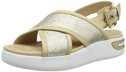 Geox D OTTAYA Sandal A, Sandalias de Talón Abierto Mujer, Dorado (Gold/Sand C2217), 37 EU