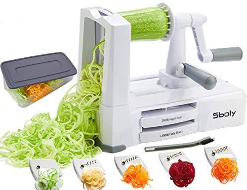 Sboly Spiralizer per verdure Affettatrice di verdure con 5 lame, Zucchine Spaghetti Maker Zoodle Maker Creatore di pasta vegetariano, Affettatrice di mandolino pi resistente e pesante con contenitore