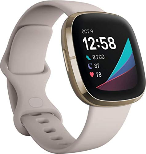 Fitbit Sense Advanced Smartwatch with Tools for Heart Health, Stress Management & Skin Temperature Trends, Lunar White/ Soft Gold Stainless Steel