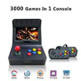 MJKJ Retro Game Console , Handheld Game Console 4.3 Inch 3000 Classic Game Player , TV Output Portable Video Game Console with 2PCS Joystick - Transparent Black
