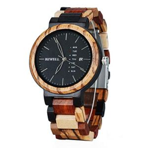 Men Colorful Wood Watches Multifunction Week & Date Quartz Mix Wooden Wrist Watch Lightweight