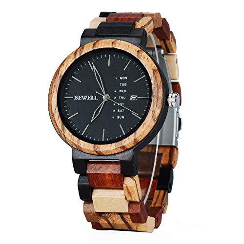 W159A orologio da uomo in legno naturale quadrante rotondo con multi funzioni di visualizzazione...