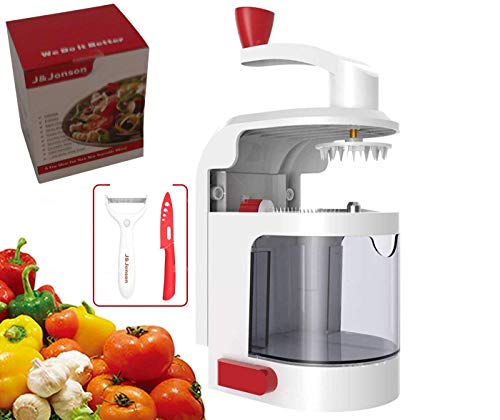 Gemüseschneider, 4-in-1-Schneide-Set, einfach zu bedienen, Gemüsehobel mit Saugboden, Gemüse-Spiralschneider und Küchenwerkzeug mit mehreren Klingen, Bonus Keramikschäler und Messer