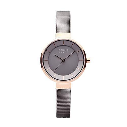 BERING Damen Analog Solar Collection Armbanduhr mit Edelstahl Armband und Saphirglas 14631-369