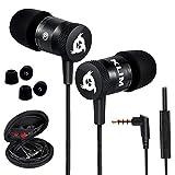 KLIM Fusion Kopfhörer in Ears mit Mikrofon - Langlebig - Innovativ: In-Ear Kopfhörer mit Memory Foam - Neue 2020 Version - 3.5 mm Jack - Sport Gaming In Ear Kopfhörer - Schwarz